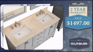 60 Inch Double Sink Bathroom Vanity in Chilled Gray - uniquevanities.com