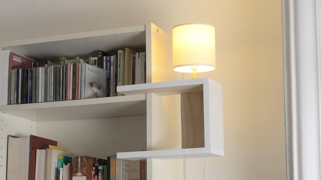 comment r aliser une lampe int grer sur une tag re pour moins de 20 youtube. Black Bedroom Furniture Sets. Home Design Ideas