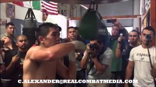LEO SANTA CRUZ SLOWMO SPEEDBAG MEDIA DAY HIGHLIGHTS 8/11/15!  SANTA CRUZ VS MARES 8/29/15 #PBConESPN