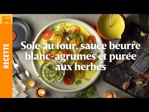 Sole au four, sauce beurre blanc-agrumes et purée aux herbes.