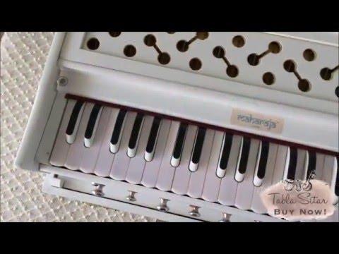 buy Maharaja Musicals Harmonium no. 187, 9-stop, Folding, White, Coupler - Tabla Sitar Musicals