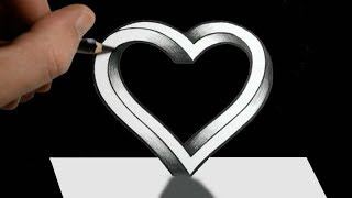 How to Draw 3D Heart | Easy 3D Drawing Heart | Trick Art Floating Heart