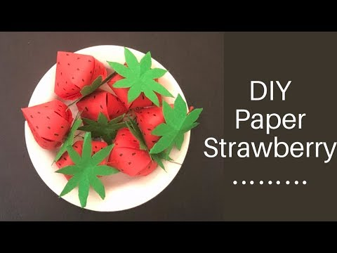 DIY Paper Strawberry/ 3d Paper Fruits Making/ Paper Crafts For School/ Kids Craft Ideas/ Easy Craft