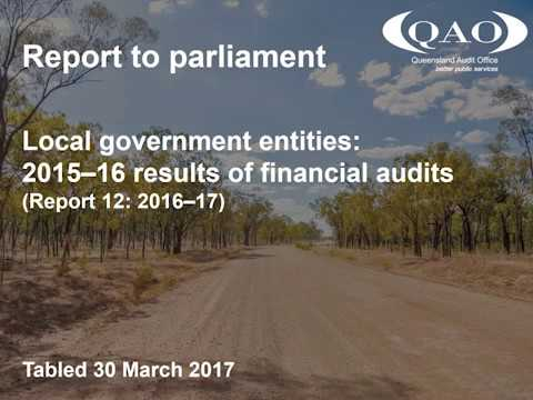Local government entities: 2015–16 results of financial audits (Report 13: 2016–17)