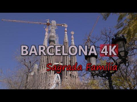 Ultra HD 4K Barcelona Travel Sagrada Familia Basilica Roman Catholic Church UHD Video Stock Footage