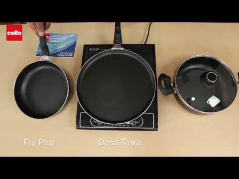 Cello Prima Induction Base Non-Stick Aluminium Cookware Set, 3-Pieces, Cherry