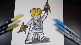 How to draw Ninjago Zane the White Ninja - Lego Speed Draw #33