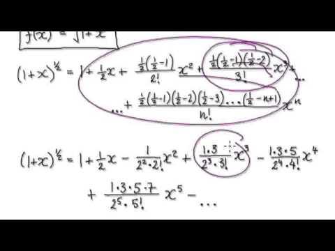 Video 2763 - Binomial Series, Maclaurin Series - Sqrt(1+x) - Example ...