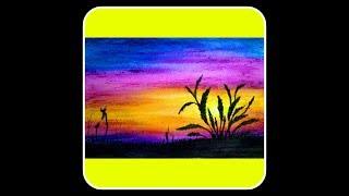 Wonderful unique colouring sunset painting || oil pastel colour painting