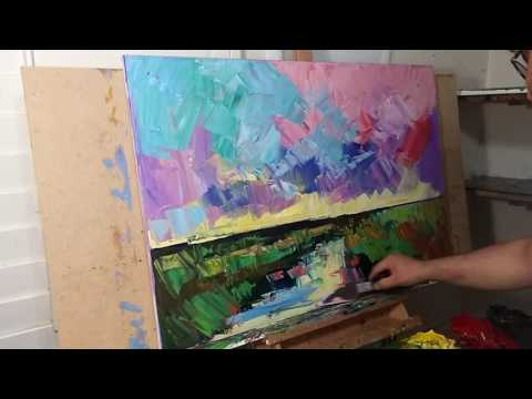 Artist JOSE TRUJILLO Impressionist Oil Painting Demo - Marsh Wetlands Sky