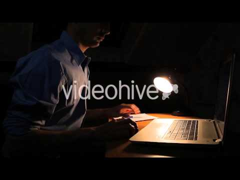 Freelancer Working In Studio By Night - Stock Footage