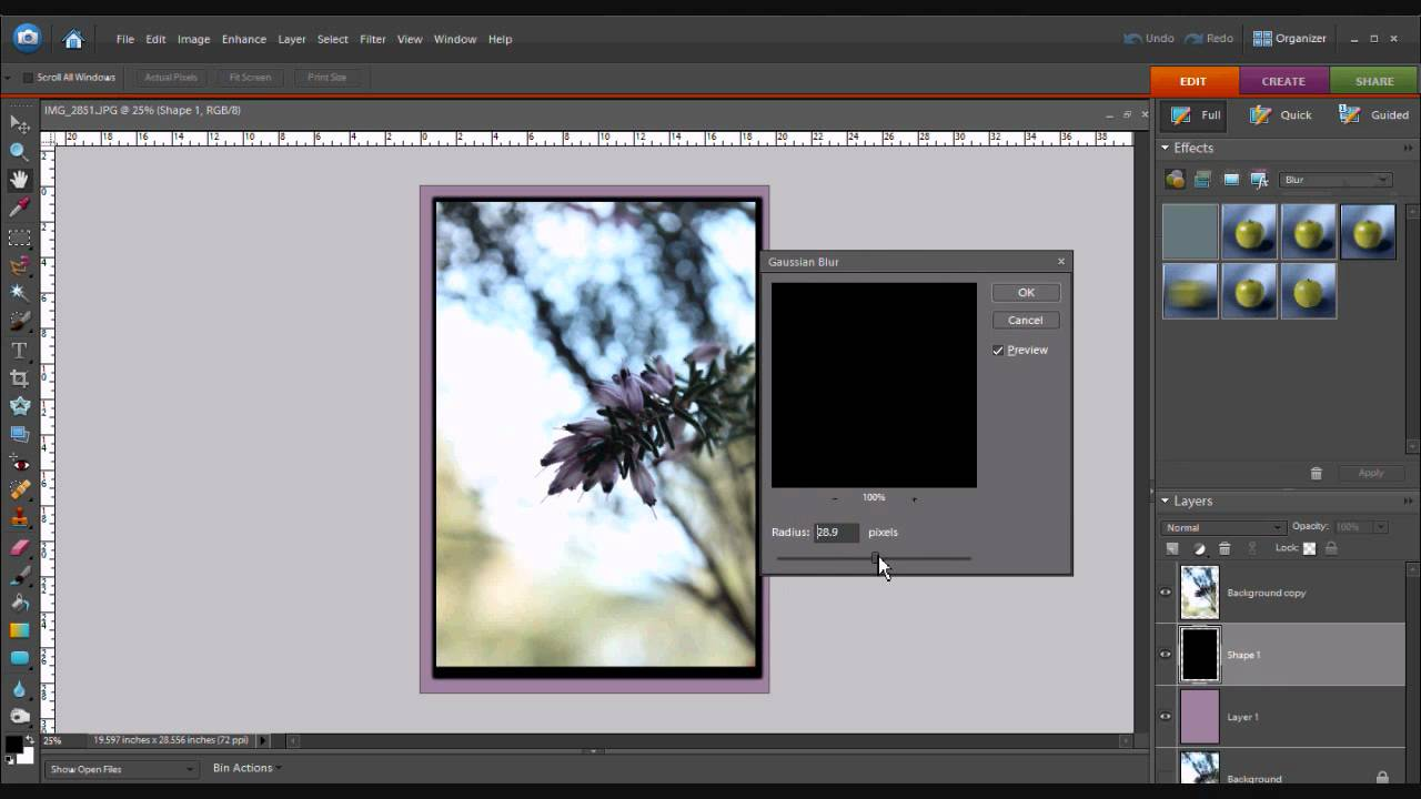 how to add shadow in photoshop elements