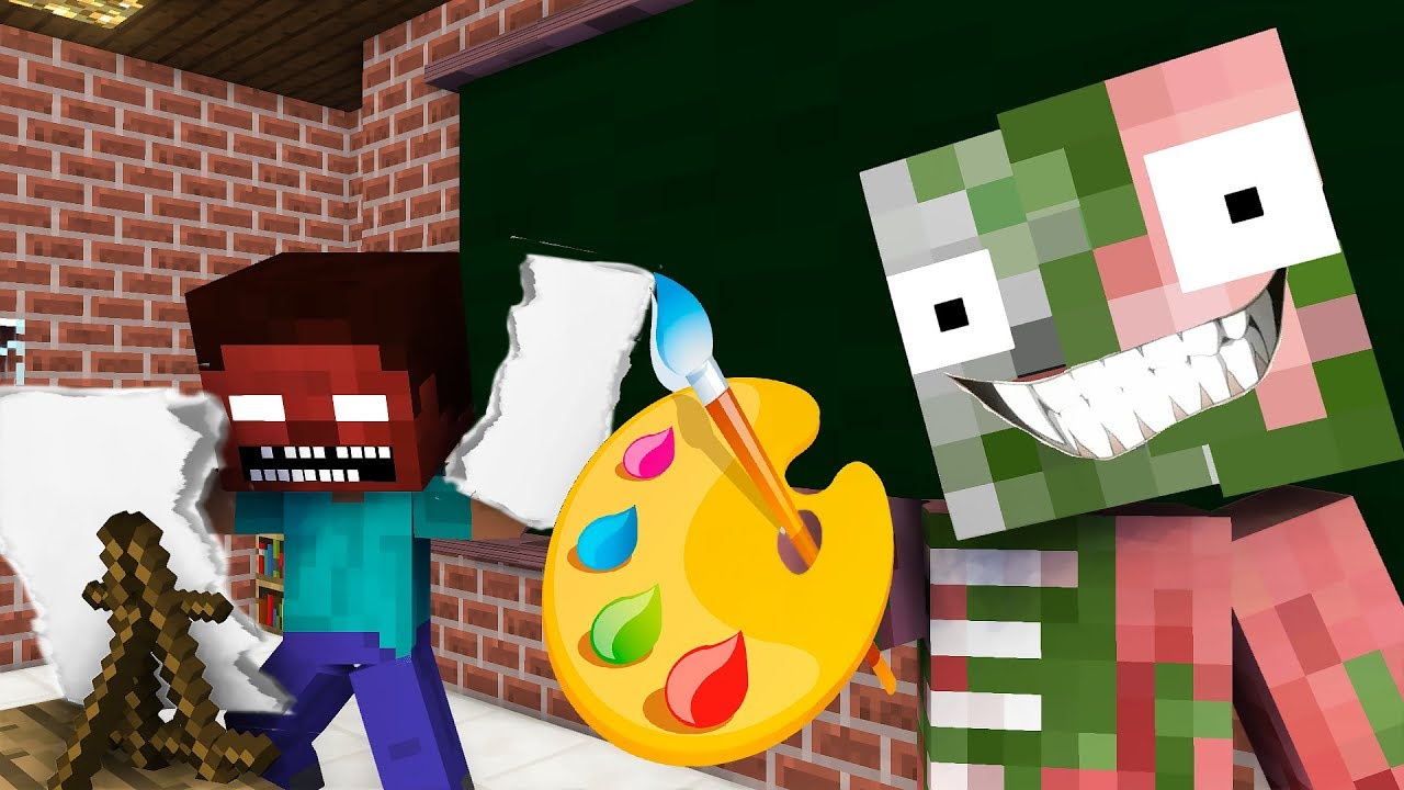 Monster School: Drawing 2 - Minecraft animation