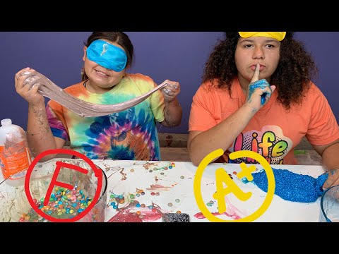 Mary CHEATED!!! Blindfolded I grade my Sisters Slime Challenge