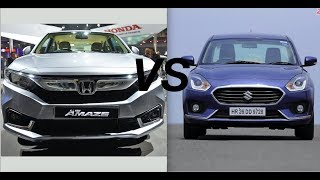 All New 2018 Honda Amaze VS Maruti Suzuki Swift Dzire (COMPARISON)