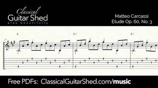 Carcassi: Op.60 No.3 - Free sheet music and TABS for classical guitar