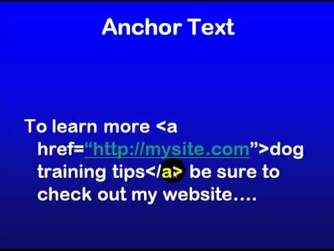 SEO Education 101 - Importance of anchor text