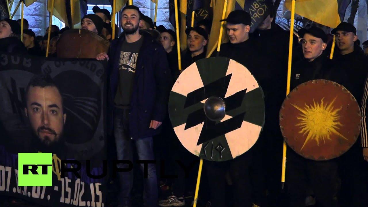 Download Ukraine: Football fans join far-right Azov battalion for unity march in Poltava