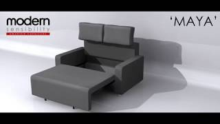 Love Seat Pull-out Sofa Bed With Storage | The Maya | Modern Sensibility