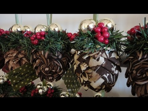 How To: Folded Fabric Pinecone Ornaments - YouTube