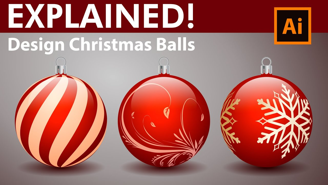 Christmas Balls.How To Design Decorative Christmas Balls Adobe Illustrator Tutorial