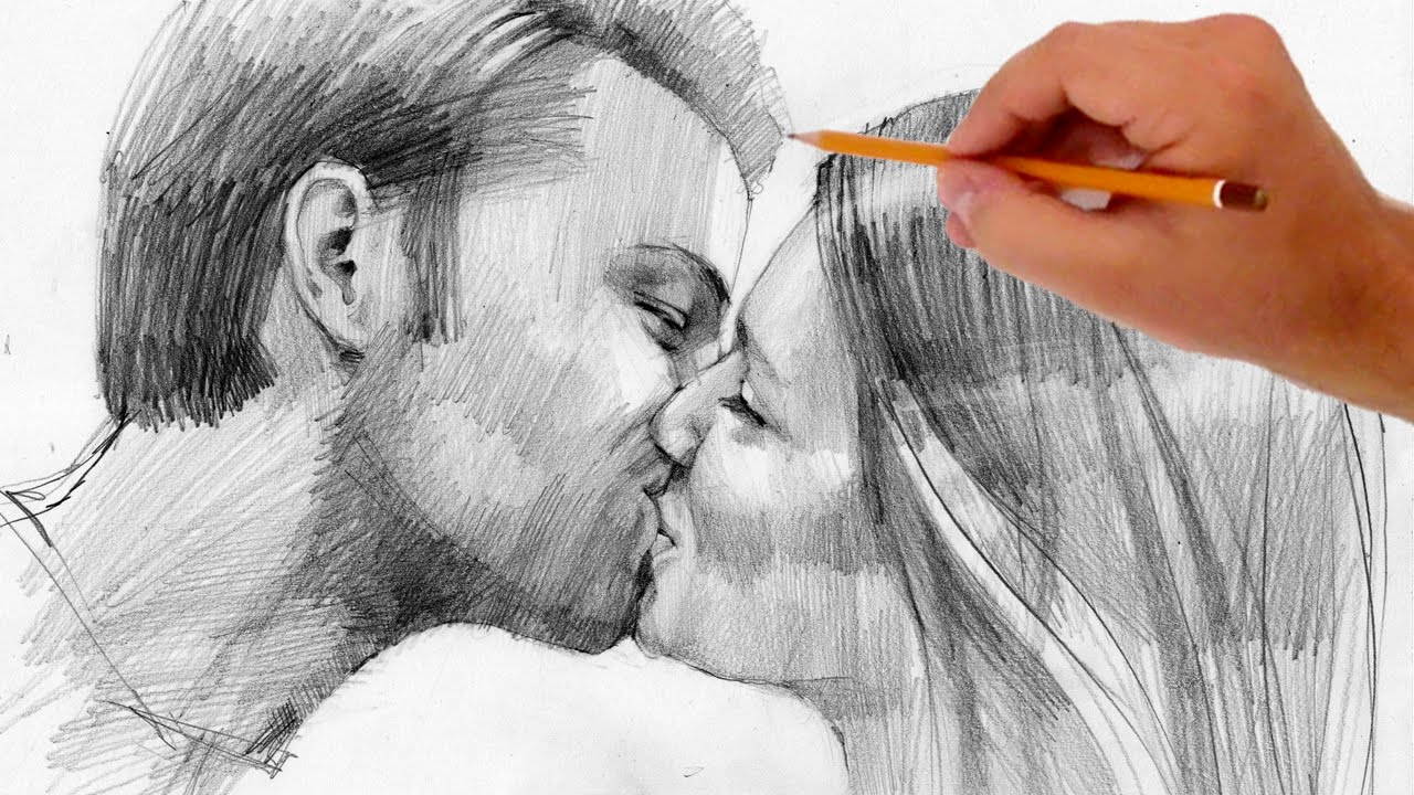 how to draw kissing people valentine s day special youtube