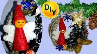 Новорічна іграшка з втулки від скотчу джуту і мішковини з ангелом своїми руками