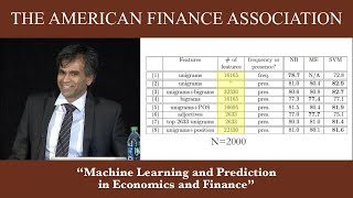 Machine Learning and Prediction in Economics and Finance
