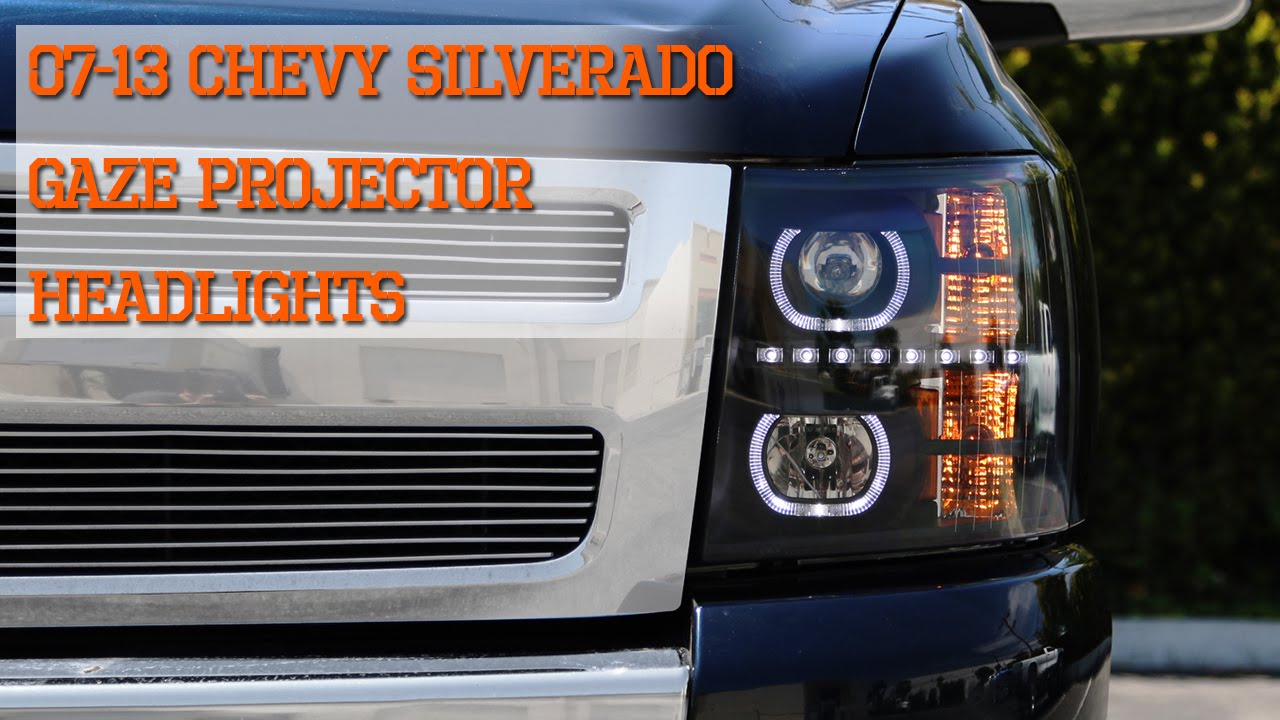 Glossy Black 07-13 Chevy Silverado 1500 Smoke LED Projector Headlights+Grille Car & Truck Parts
