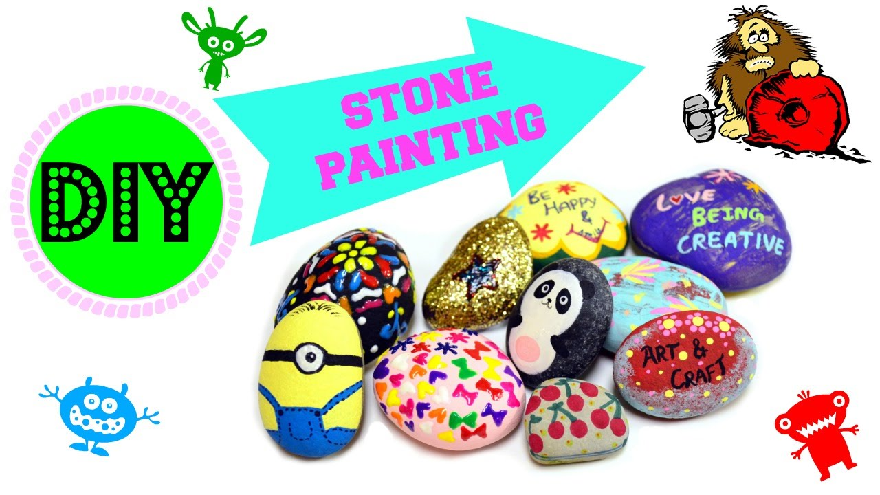 diy stone painting how to paint stones in 5 different styles youtube. Black Bedroom Furniture Sets. Home Design Ideas