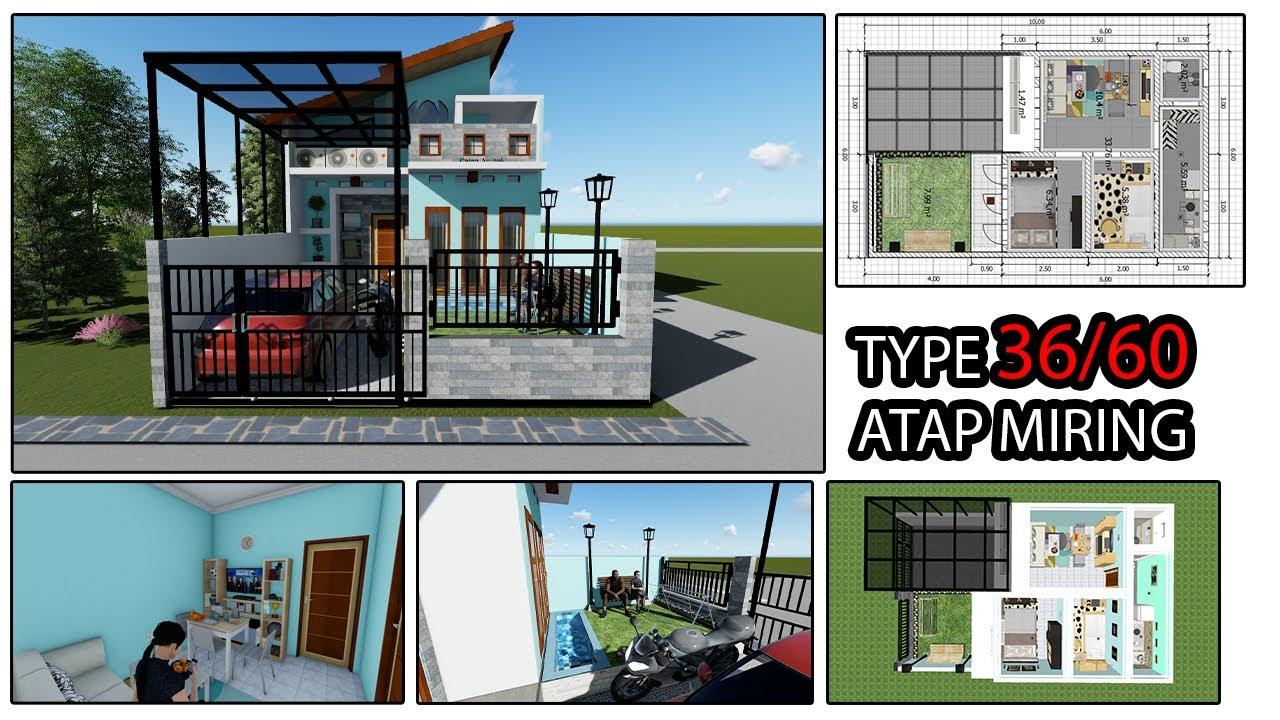 Desain Rumah Type 36/60 Atap Miring Minimalis - YouTube