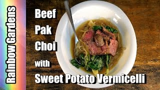 4K Salted Beef & Bok Choi with Sweet Potato Vermicelli -  Fall Garden Harvest