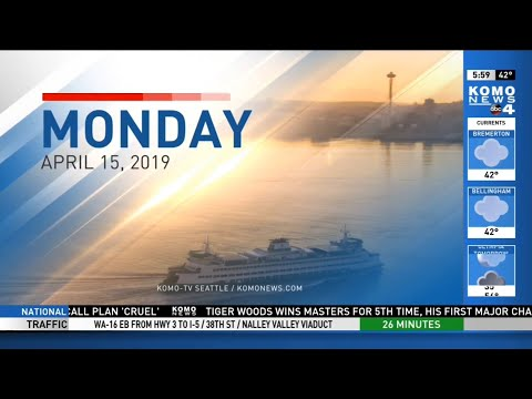 KOMO Morning News at 6 AM - Partial Open April 15, 2019 (New Sinclair Graphics)