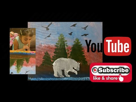 Peaceful Nature Scenery step by step Acrylic Painting on Canvas for beginners