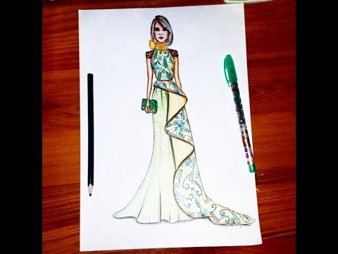 Fashion Illustration Drawing Dress Using Color Pencil For Beginners Youtube