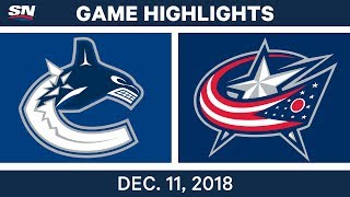 NHL Highlights | Canucks vs. Blue Jackets - Dec 11, 2018