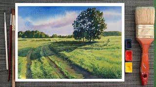 Уроки рисования. Как рисовать пейзаж акварелью. Акварель для начинающих. Поэтапное рисование.