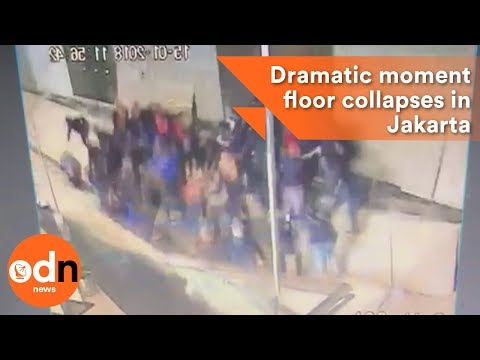 Dramatic moment floor collapses in Jakarta