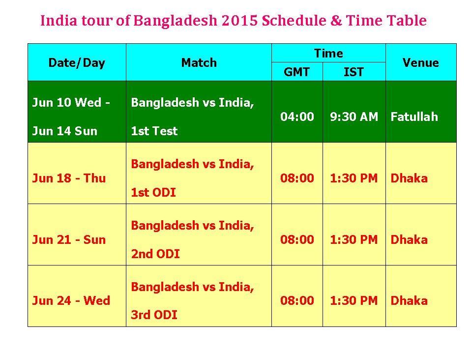 Bangladesh Tour Of India  Schedule