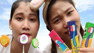 100% Kẹo Kem Đánh Răng vs Kẹo Mút Vị Dưa Hấu ❤️ BABA TV ❤️
