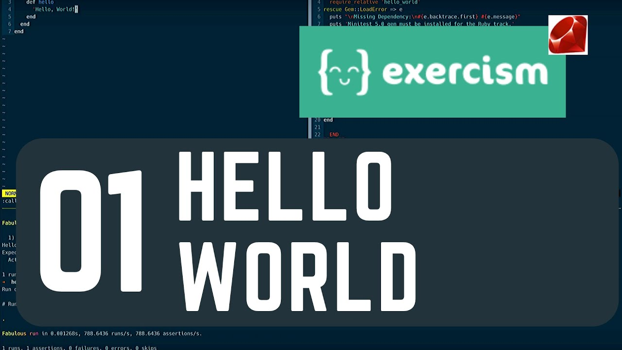 exercism io 01 hello-world - YouTube