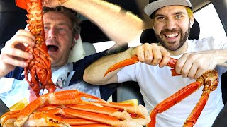 OUR FIRST SEAFOOD BOIL MUKBANG IN CAR!! with Jason Nash from Vlog Squad