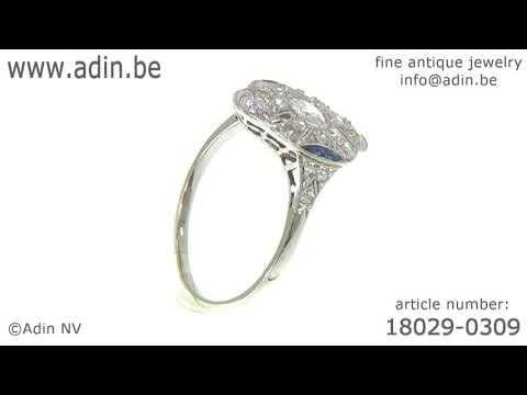 Belle Epoque Art Deco diamond and sapphire platinum engagement ring. (Adin reference: 18029-0309)
