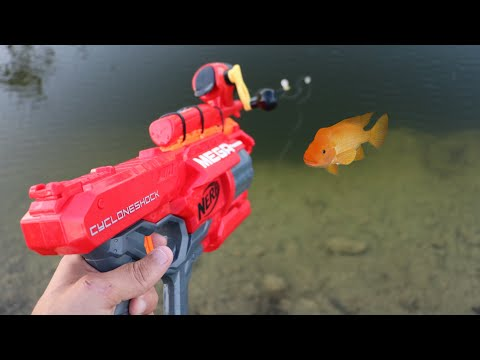 Nerf MEGA Blaster Catches Colorful JAWS FOOD!!