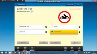 having a look at the motorbike theory test
