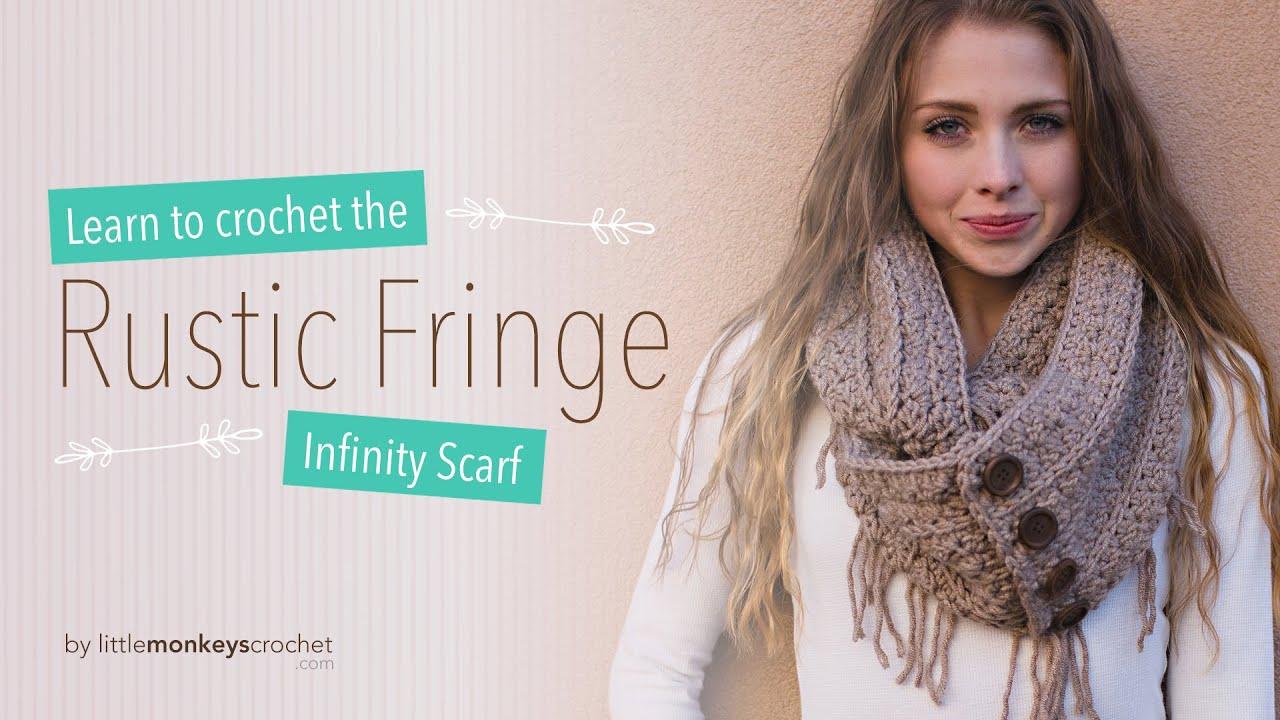 Rustic Fringe Infinity Scarf Crochet Tutorial Youtube