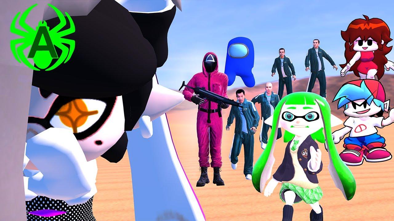 Squid Game 3D animation vs Friday Night Funkin', Among Us feat. Inkura