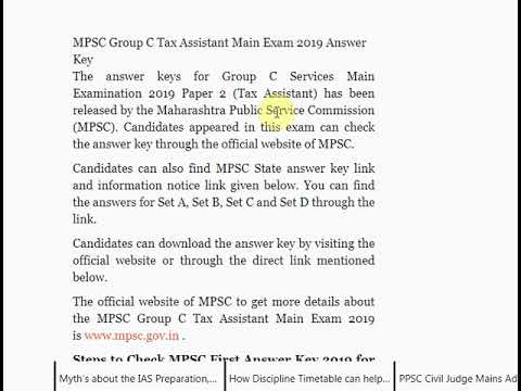 MPSC Group C Tax Assistant Main Exam 2019 Answer Key Published on mpsc.g...
