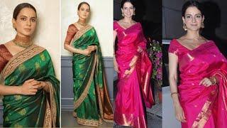 Kangana Ranaut Sarees look   Stylish Actress Kangana Ranaut Saree Design   Top best saree look
