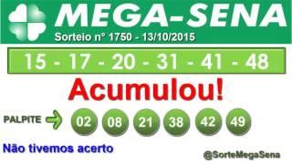 RESULTADO MEGA SENA - 1750 - 13/10/2015 - TERÇA-FEIRA - SorteMegaSena